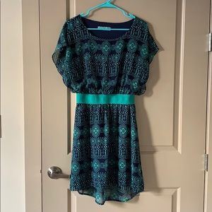 Navy and turquoise dress